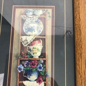 Solid Oak Tea Cup Country Picture Framed Wall Art